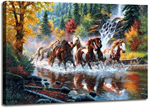 Canvas Wall Art Contemporary Simple Life Mountain Stream Landscape Running Horse Painting Wild Animal Vintage Abstract Picture Canvas Print Large Modern Framed Wall Art Home and Office Decoration