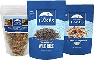 Thousand Lakes Minnesota Wild Rice, Mixed Vegetable Soup Blend, and 32 Bean Soup Mix - 3-pack | 100% Natural | Vegetarian