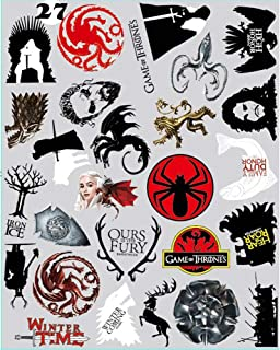 27pcs Game of Thrones Stickers - Winter is Coming Fire and Blood MacBook Decal Mac Air Pro Retina Laptop Stickers for Water Bottles Phone Case Computer Car Luggage, Waterproof (game of thrones 27pcs)