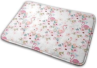 Summer Floral Flamingos Carpet Non-Slip Welcome Front Doormat Entryway Carpet Washable Outdoor Indoor Mat Room Rug 15.7 X 23.