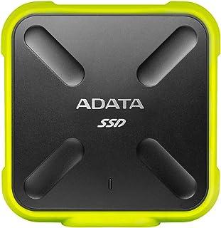 ADATA SD700   512 GB, externe Solid State Drive mit 3D NAND Flash, 2.5 Zoll, USB 3.2 Gen.1, IP68 wasserdicht und staubdicht, schwarz gelb
