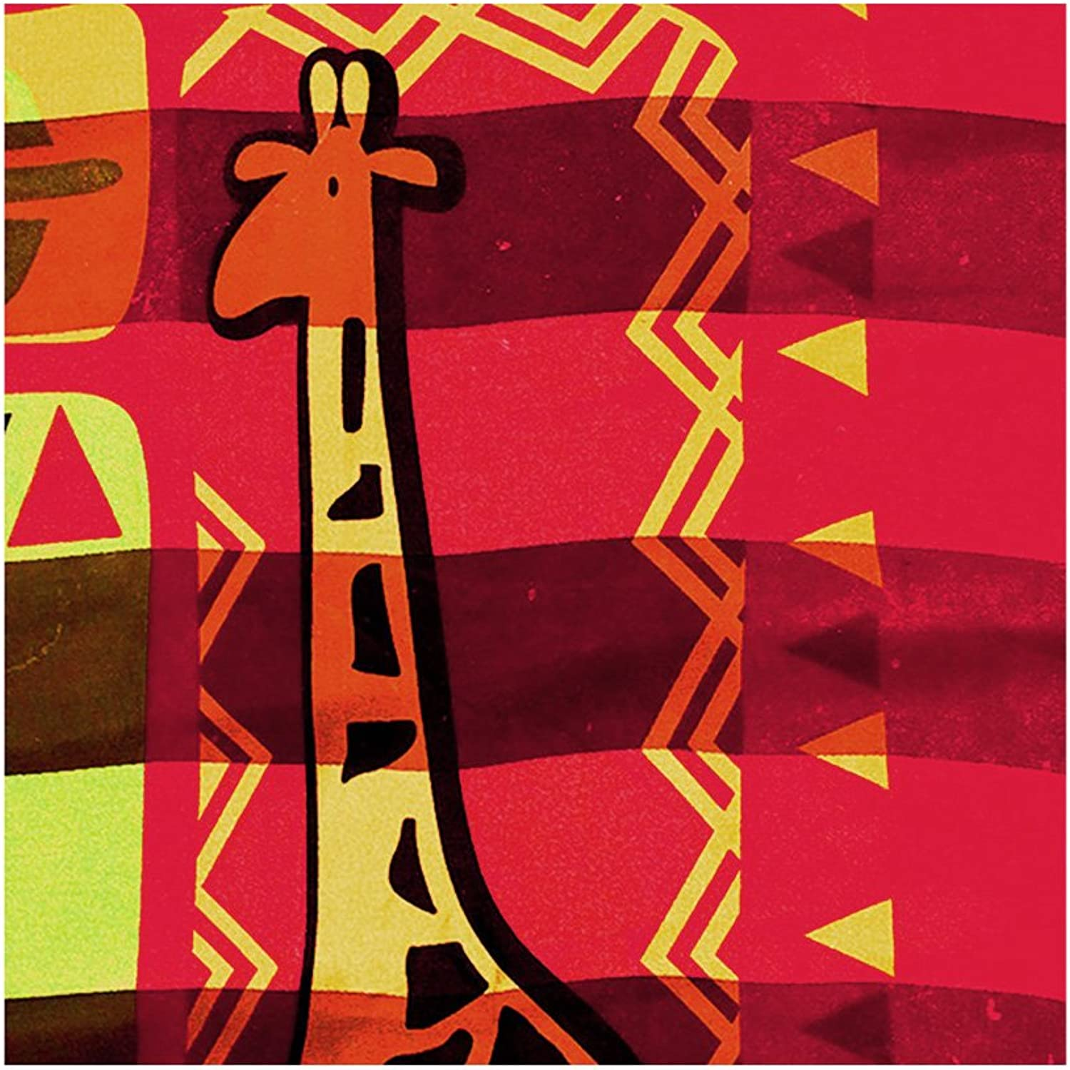 African Geometric with Giraffe Large Square Silk SatinFeel Scarf (Red, 40  x 40 )