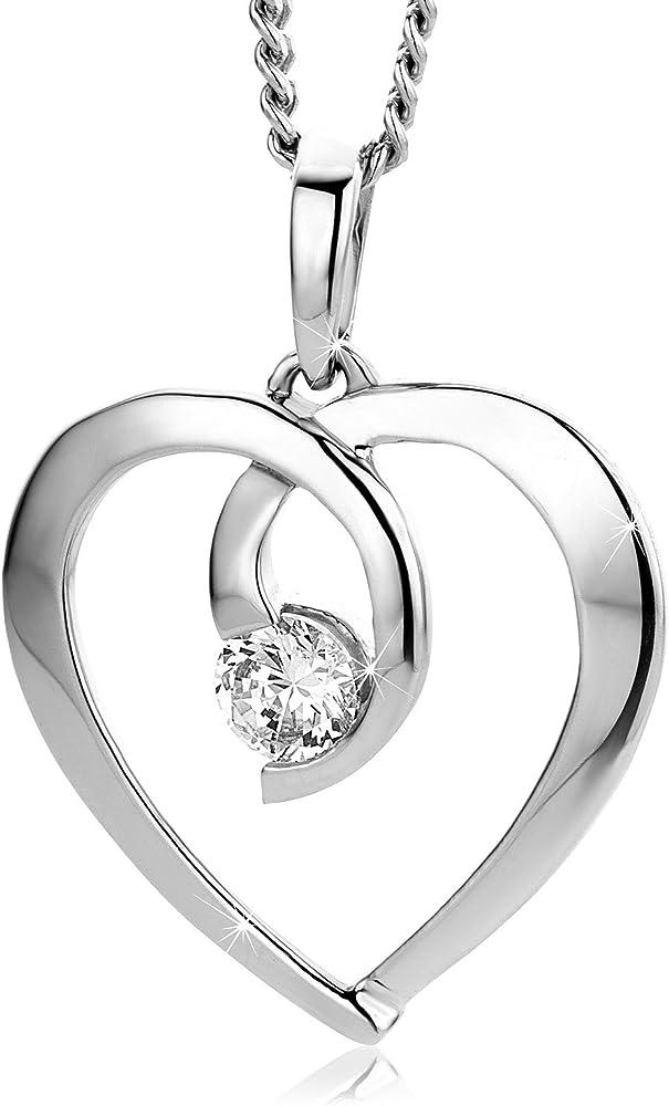 Orovi,collana per donna in oro bianco 9 kt (1,14 gr)con pendente a forma di cuore con zircone taglio brillante OR7792P