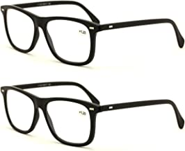 V.W.E. 2 Pairs Thin Classic Style Reading Glasses - Comfortable Stylish Simple Readers Rx Magnification