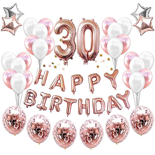 HankRobot 30th Birthday Decorations Party Suppies38packRose Golden Number 30 Balloons Happy
