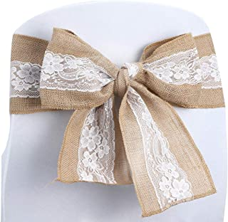 Kivvo 10pcs Burlap Chair Sashes Bands for Wedding Chair, Chair Covers Bow Back for Dining Chair, Chair Ribbons with Lace