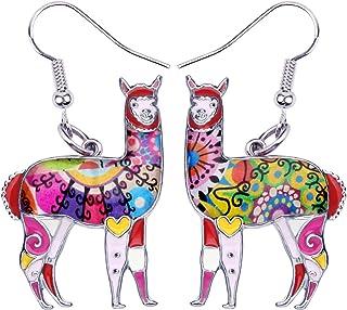 NEWEI Enamel Alloy South America Alpaca Earrings Drop Dangle Fashion Unique Animal Jewelry For Women Girls Gift Charms