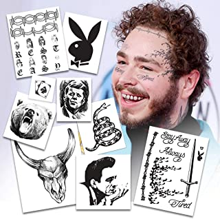 BONUS PACK: Post Malone Temporary Tattoos | Includes FACE, HANDS & ARM Tattoos | REALISTIC | Life-Sized