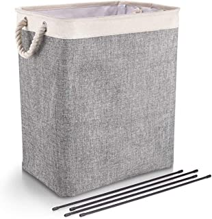Laundry Basket with Handles Linen Hampers for Laundry Storage Baskets Built-in Lining with Detachable Brackets Well-Holdin...
