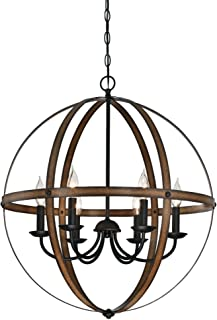 Westinghouse Lighting 6333600 Stella Mira Six-Light Indoor Chandelier, Barnwood and Oil Rubbed Bronze Finish