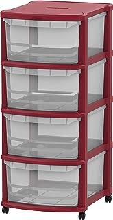 Cosmoplast IFHHST543R2 Storage Cabinet Multi-purpose 4 Drawer Storage Cabinet with Wheels, Dark Red, W 42.0 x H 96.0 x L 5...