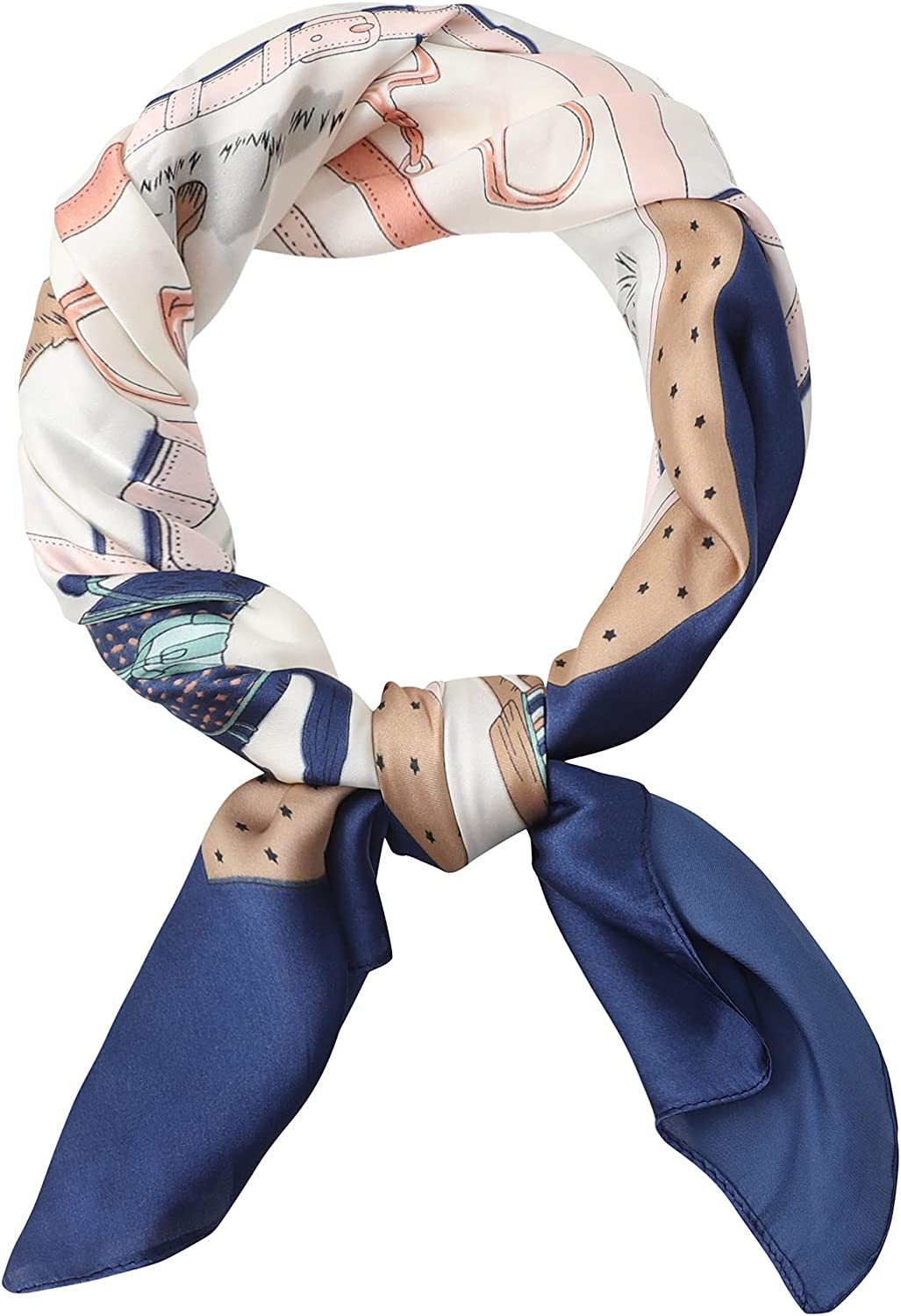 MOUEEY Fashion Silk Feeling Scarf Square Satin Head Scarf for Womens 27.5 × 27.5 inches
