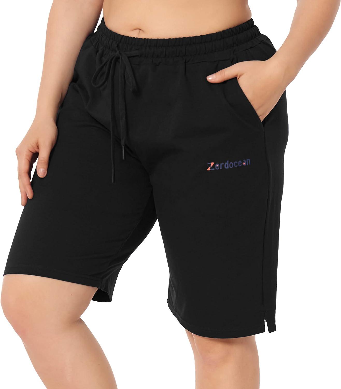 ZERDOCEAN Women's Plus Size Casual Sports Shorts Lounge Yoga Pajama Walking Sweat Shorts Activewear with Pockets