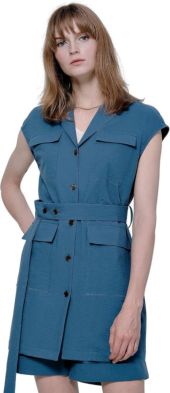 Matthewaperry Lapel Collar Dress for Women Short-Sleeve Above Knee Button Down with Belt