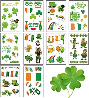 St. Patrick's Day Temporary Tattoo, Irish Shamrock Tattoo stickers for St patricks Party Favor Decoration for Man Women Kids