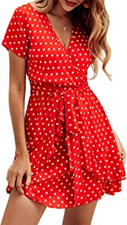 BTFBM Women V Neck Short Sleeve Polka Dot Floral Pattern A-Line Tie Belt Short Dress with Ruffle Irregular Hem