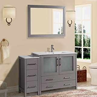 Vanity Art 48 inch Single Sink Modern Bathroom Vanity Compact Set 1 Shelf 5 Drawers - Ceramic Top & Bathroom Cabinet with Free Mirror (Gray) - VA3036-48-G