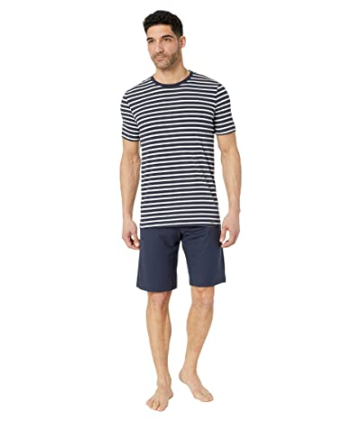 Hanro Night Day Short Sleeve Pajama Set (Navy Stripe) Men