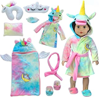 Ecore Fun 18 inch Doll Clothes and Doll Sleeping Bag Set -Unicorn-Nightgown with Matching Sleepover Masks & Pillow -Dolls ...