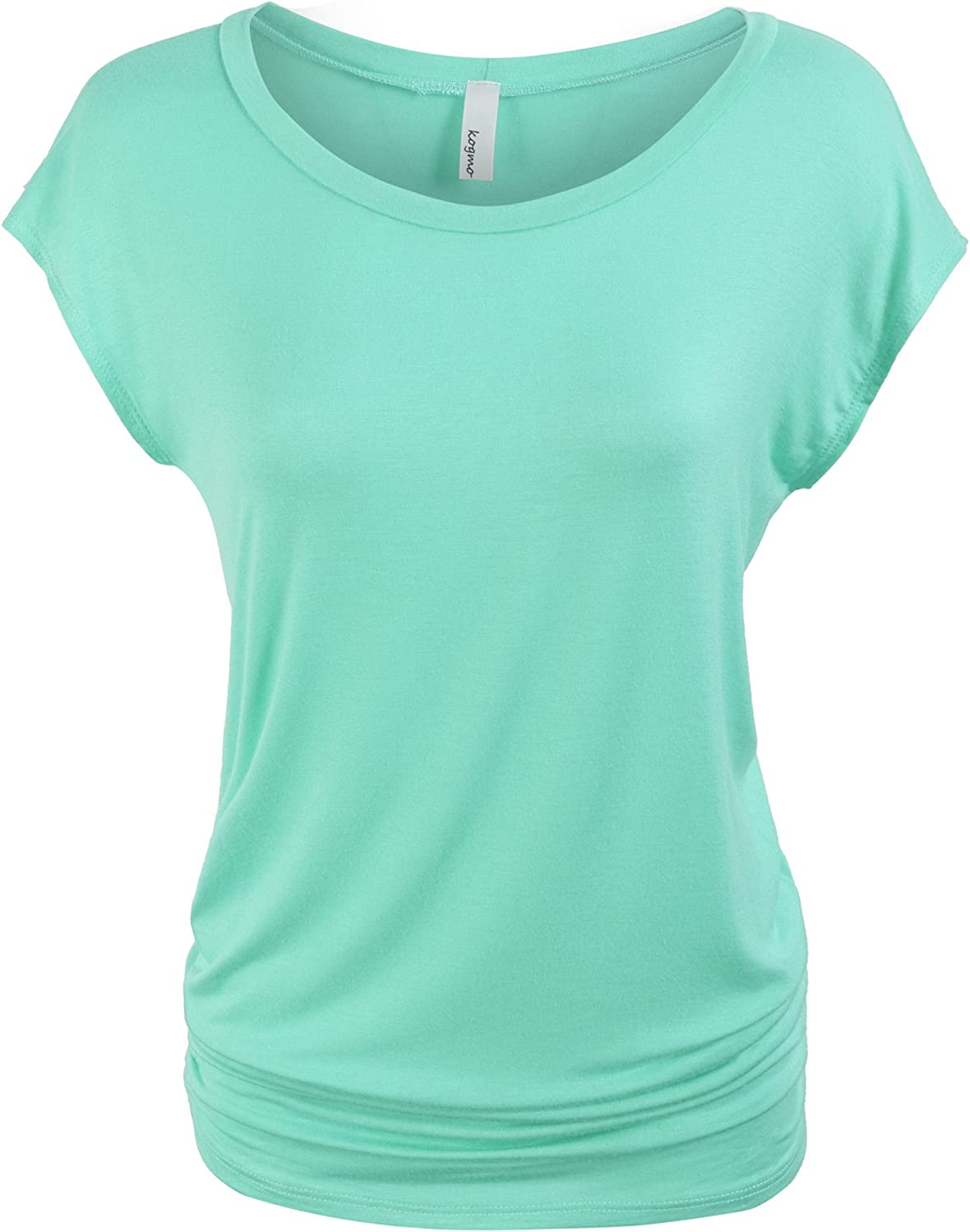 KOGMO Womens Short Sleeve Solid Basic Tunic Top Tee with Side Shirring3XMINT