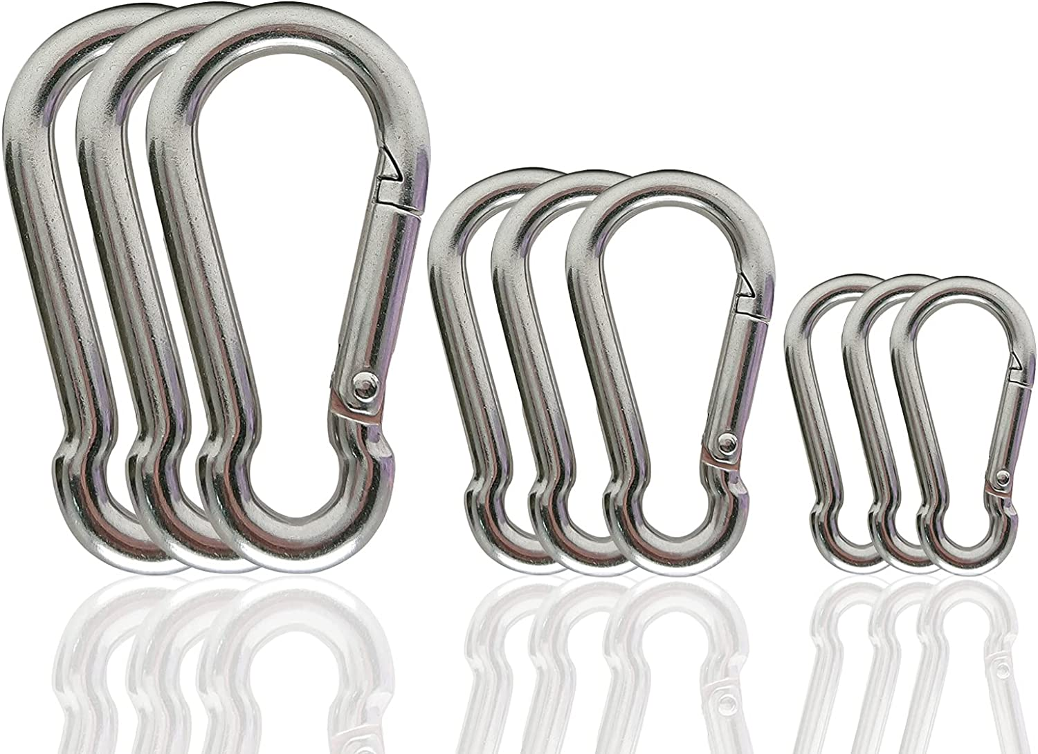 9 Pcs Spring Challenge the lowest price Snap Hooks Carabiner 3.15 inch Minneapolis Mall 2.36 304 2 Stai