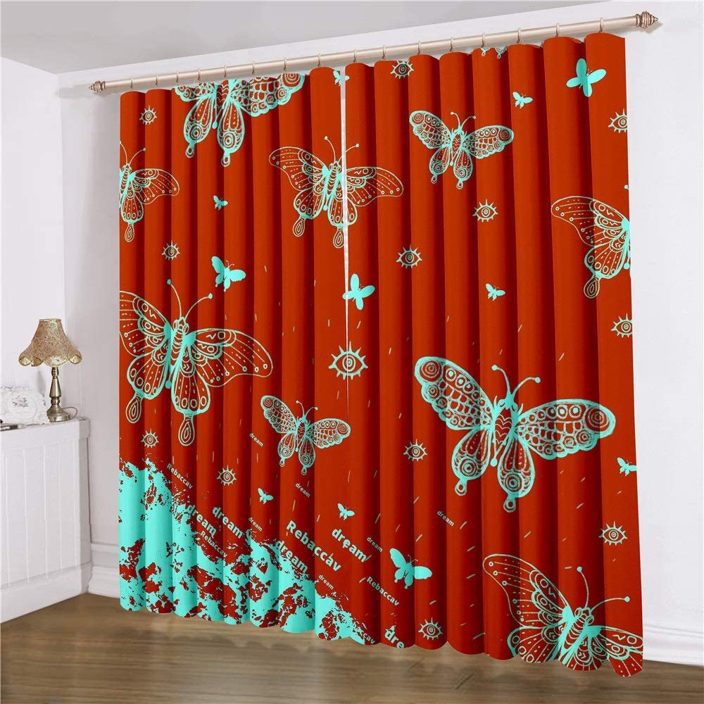 67% OFF of fixed Industry No. 1 price Totots Bedroom Curtains Butterfly Red Polyester B Fiber