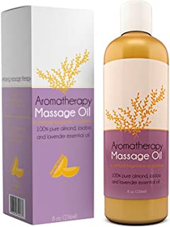 Aromatherapy Massage Oil for Massage Therapy with Pure Jojoba and Almond Oil for Skin are Enhanced with Relaxing Lavender Essential Oil for Sleep and Wellness Natural Anti Cellulite Body Moisturizer