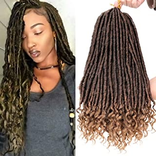 Faux Locs Crochet Braids 20 Inch Soft Natural Kanekalon Synthetic Hair Extension 6Pcs/Lot Goddess Faux Locks with Curly Ends Hair Extension (#1B/27)