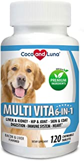 Coco and Luna Multivitamin for Dogs - Glucosamine, Chondroitin, Essential Dog Vitamins, DHA, EPA, Probiotics & Enzymes, Im...
