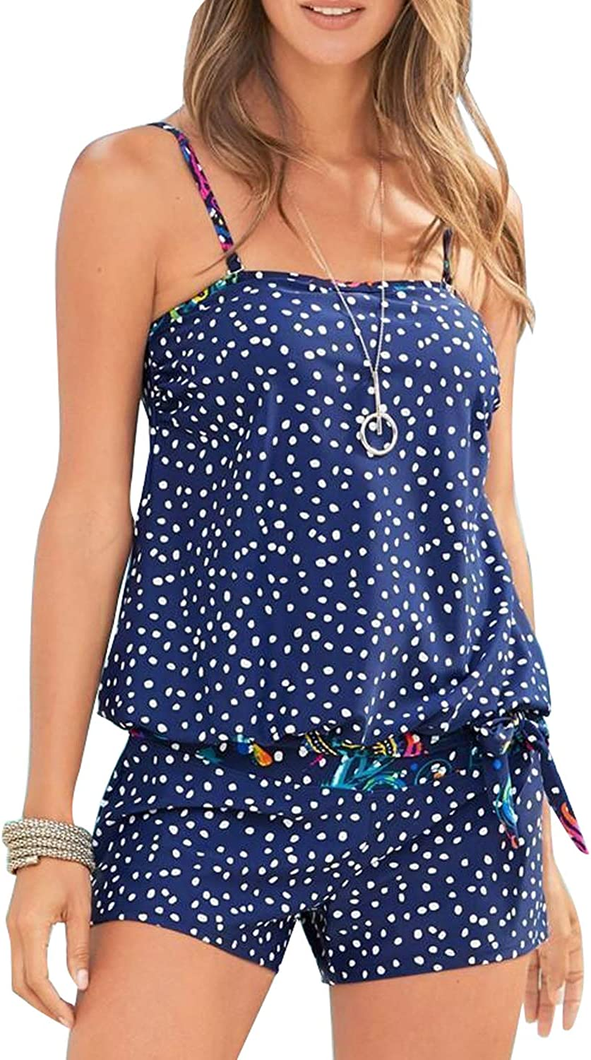 GLUDEAR Womens Dotted Floral Printed Strappy T-Back Push up Tankini Top with Shorts