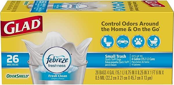 Glad Small Trash Bags OdorShield 4 Gallon White Trash Bag Febreze Fresh Clean 26 Count Each Pack Of 6