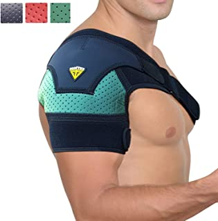FIGHTECH® Shoulder Brace for Men and Women   Compression Support for Torn Rotator Cuff and Other Shoulder Injuries   Left or Right Arm (Mint, Large/X-Large)