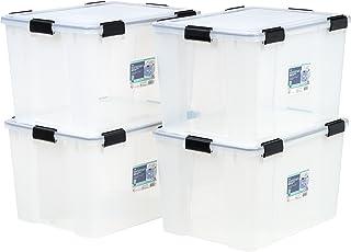 IRIS USA UCB-LDD Weathertight Storage Box, 4 Pack, 74 Quart, Clear
