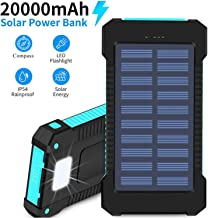 $25 » Hidver Solar Phone Charger 20000mAh Portable Power Bank Waterproof Battery Packs with Dual Ports, Compass, Flashlight for Camping Solar Panel for Smartphones,GoPro Camera,GPS and Other Devices