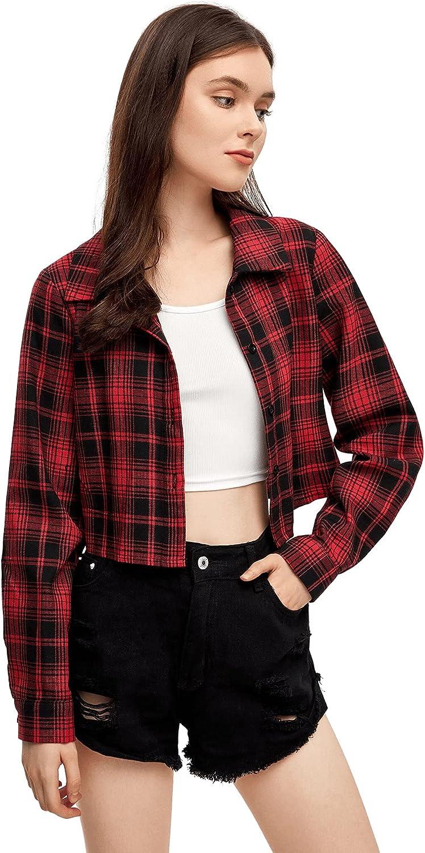SweatyRocks Women's Long Sleeve Plaid Button Down Collar Crop Blouse Shirt Top