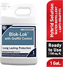 Rain Guard Water Sealers CR-0609 Blok-Lok with Graffiti Control Ready to Use 1 gal Professional Grade Water Repellent Sealer - Bare Wood, Concrete, CMU, Block, Brick, Stucco, Stone, Clear