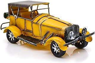 Retro Maqueta de Coche Clásico Vendimia Metal Hierro Para decoración de oficina, colección y juguetes (amarillo)