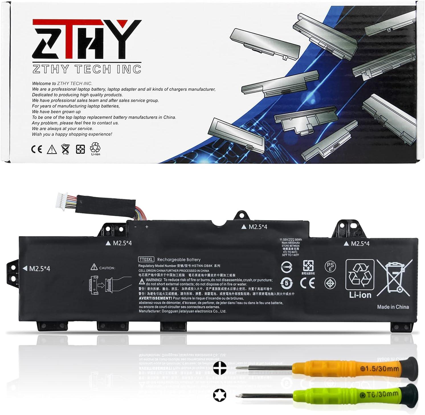 ZTHY New TT03XL Laptop Battery Replacement for HP EliteBook 755 G5 850 G5 850 G6 ZBook 15U G5 15U G6 Series Notebook 932824-2C1 933322-855 932824-421 HSTNN-LB8H HSTNN-DB8K 11.55V 56Wh 4850mAh