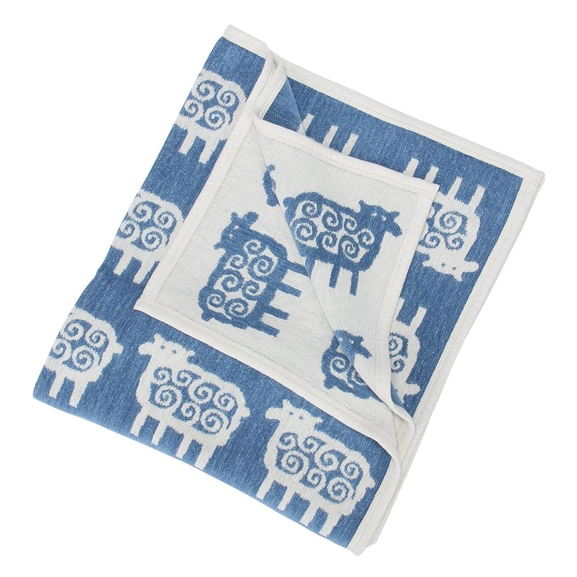 テレビを見る消費する玉Klippan [ クリッパン ] Chenille Blankets シュニール ブランケット Sheep シープ 膝掛け 毛布 ブランケット ブランケット ブルー 2502.03 [並行輸入品]