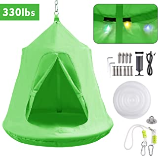 GARTIO Hanging Tree Tent, Swing Play House, Portable Hammock Chair, with LED Decoration Lights, Inflatable Cushion, Suit for Adult and Kids Indoor Outdoor, Max Capacity 330lbs (Green)