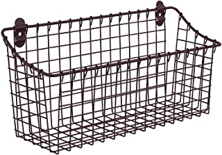 Spectrum Diversified Vintage Extra Large Cabinet & Wall-Mounted Basket for Storage & Organization Rustic Farmhouse Decor, Sturdy Steel Wire Storage Bin, Bronze