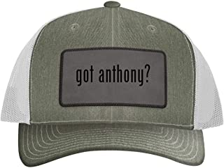 One Legging it Around got Anthony? - Leather Grey Patch Engraved Trucker Hat