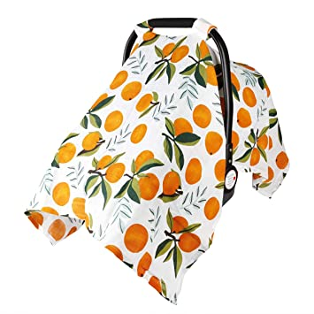 Baby Car Seat Cover Infant Carseat Canopy, Metplus Cotton Muslin Carrier Covers, Summer Stroller Canopie - Extra Wide Universal Fit, Lightweight Breathable Soft for Newborn Boy Girl (Oranges): image