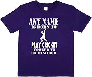 Print4u Personalised Any Name Born to Play Cricket T-Shirt