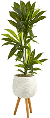 46in. Dracaena Artificial Plant in White Planter with Stand (Real Touch)