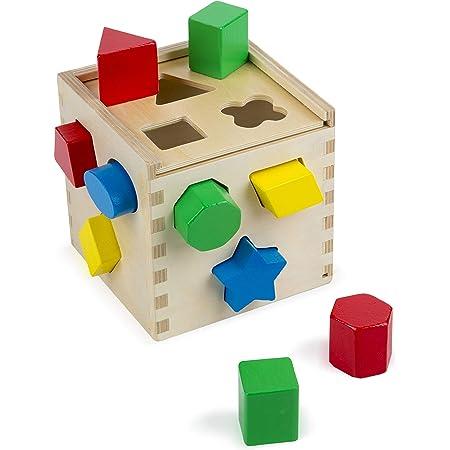 Melissa & Doug- Classic Toy Cubo con Forme in Legno, Multicolore, 575