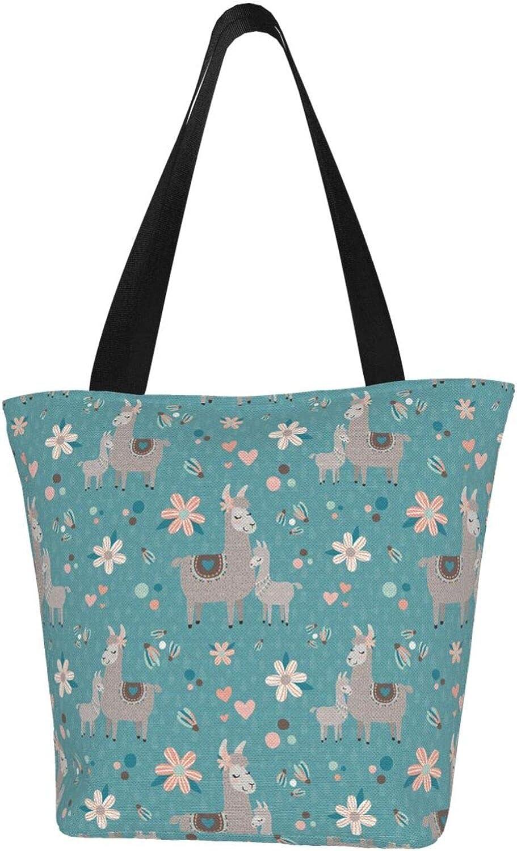 Flower Blue Parentage Llama Themed Printed Women Canvas Handbag Zipper Shoulder Bag Work Booksbag Tote Purse Leisure Hobo Bag For Shopping