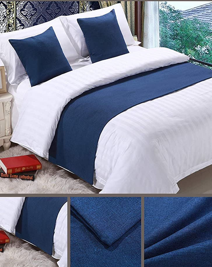 Mengersi Solid Bed Runner Scarf Protector Slipcover Bed Decorative Scarf for Bedroom Hotel Wedding Room (Queen, Navy)