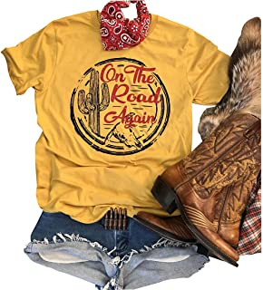 Anbech On The Road Again Graphic Tees for Women Sleeveless Summer Tank Top Cactus Muscle Vest Vintage Shirt
