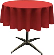 LA Linen 51 Round Polyester Poplin Tablecloth - Pack of 1 - Red.